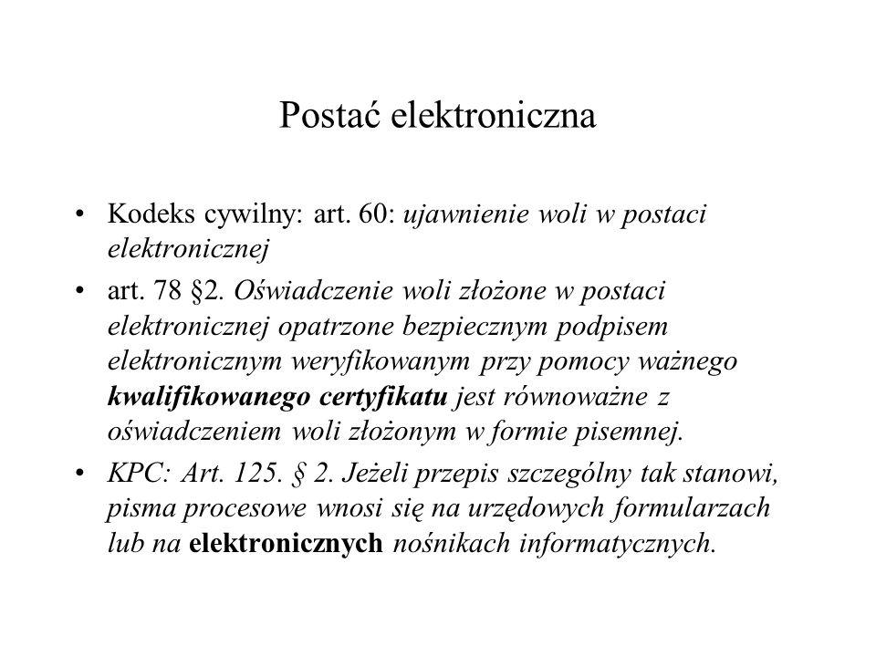 Postać elektroniczna Kodeks cywilny: art.60: ujawnienie woli w postaci elektronicznej art.