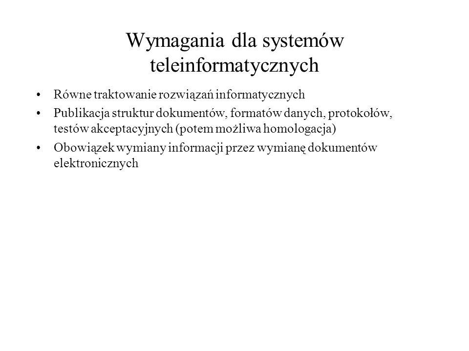 Wymagania dla systemów teleinformatycznych Równe traktowanie rozwiązań informatycznych Publikacja struktur dokumentów, formatów danych, protokołów, testów akceptacyjnych (potem możliwa homologacja) Obowiązek wymiany informacji przez wymianę dokumentów elektronicznych