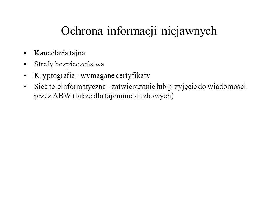 Ochrona informacji niejawnych Kancelaria tajna Strefy bezpieczeństwa Kryptografia - wymagane certyfikaty Sieć teleinformatyczna - zatwierdzanie lub przyjęcie do wiadomości przez ABW (także dla tajemnic służbowych)