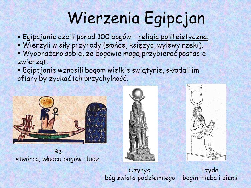Wierzenia Egipcjan  Egipcjanie czcili ponad 100 bogów – religia politeistyczna.  Wierzyli w siły przyrody (słońce, księżyc, wylewy rzeki).  Wyobraż