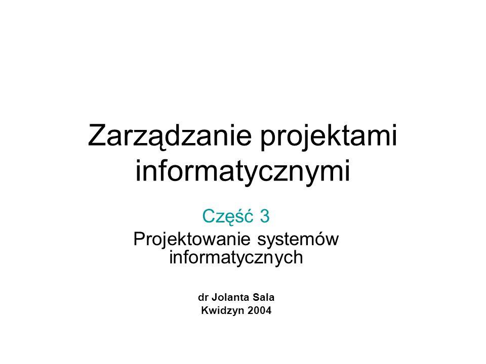 Zarządzanie projektami informatycznymi Część 3 Projektowanie systemów informatycznych dr Jolanta Sala Kwidzyn 2004