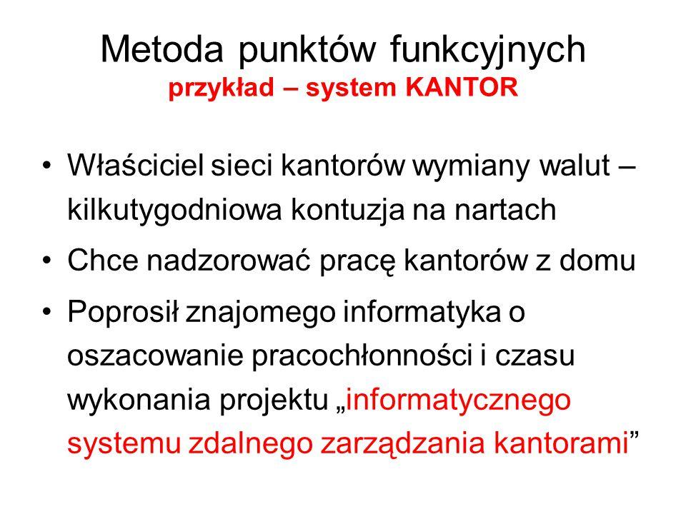 Metoda punktów funkcyjnych przykład – system KANTOR Właściciel sieci kantorów wymiany walut – kilkutygodniowa kontuzja na nartach Chce nadzorować prac