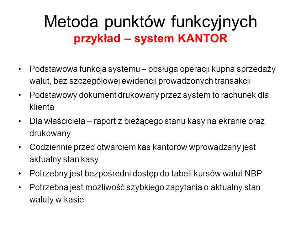 Metoda punktów funkcyjnych przykład – system KANTOR System KANTOR Kantorowe kursy walut Stan kasy Kursy walut NBP Stan początkowy Operacja Zapytanie Wydruki Rachunek Ekran