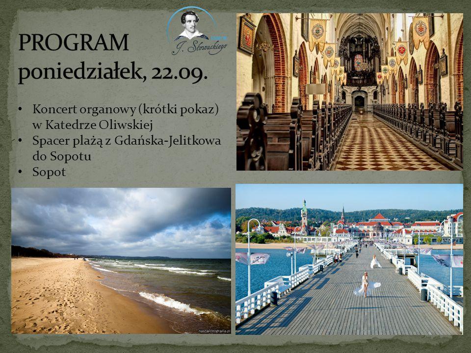 Koncert organowy (krótki pokaz) w Katedrze Oliwskiej Spacer plażą z Gdańska-Jelitkowa do Sopotu Sopot