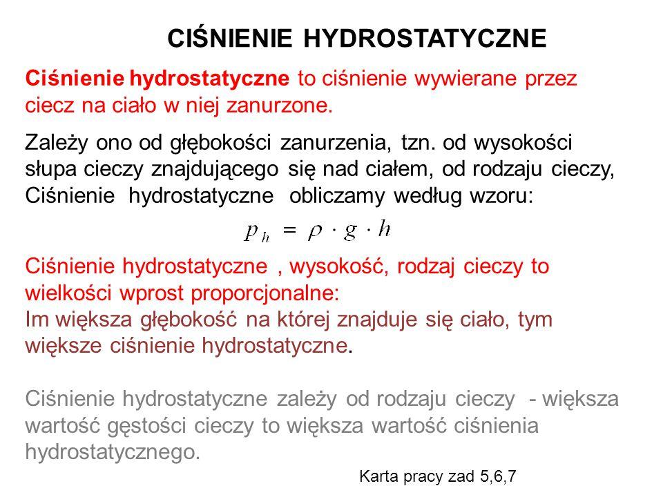 Ciśnienie hydrostatyczne to ciśnienie wywierane przez ciecz na ciało w niej zanurzone.