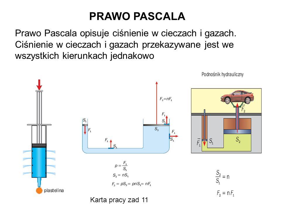 PRAWO PASCALA Prawo Pascala opisuje ciśnienie w cieczach i gazach.