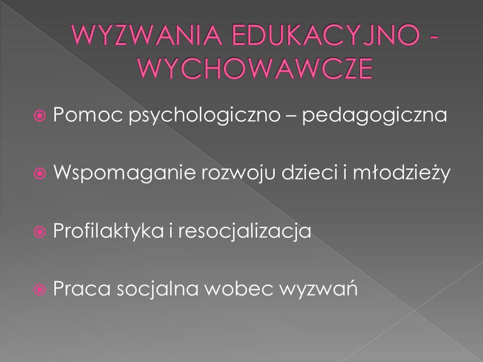  Pomoc psychologiczno – pedagogiczna  Wspomaganie rozwoju dzieci i młodzieży  Profilaktyka i resocjalizacja  Praca socjalna wobec wyzwań
