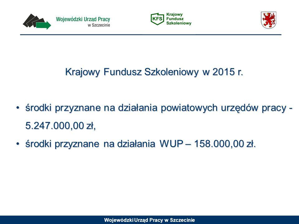 Wojewódzki Urząd Pracy w Szczecinie Krajowy Fundusz Szkoleniowy w 2015 r. środki przyznane na działania powiatowych urzędów pracy - 5.247.000,00 zł,śr
