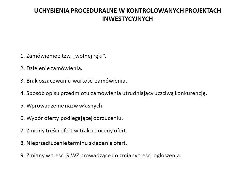 UCHYBIENIA PROCEDURALNE W KONTROLOWANYCH PROJEKTACH INWESTYCYJNYCH 1.