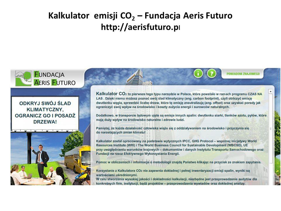 Kalkulator emisji CO 2 – Fundacja Aeris Futuro http://aerisfuturo.p l