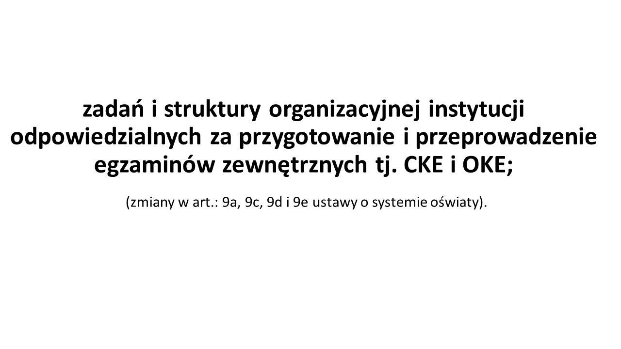 zadań i struktury organizacyjnej instytucji odpowiedzialnych za przygotowanie i przeprowadzenie egzaminów zewnętrznych tj.