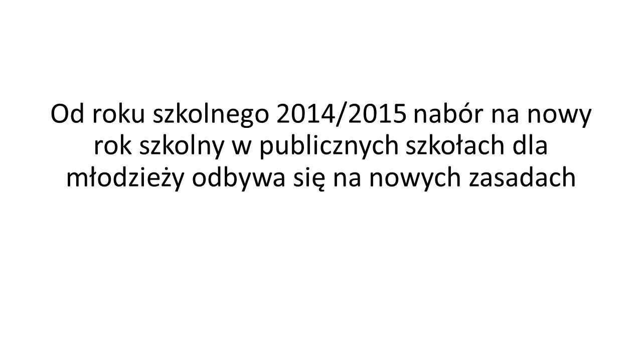 Od roku szkolnego 2014/2015 nabór na nowy rok szkolny w publicznych szkołach dla młodzieży odbywa się na nowych zasadach