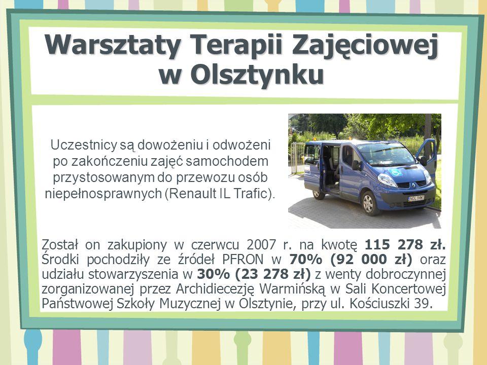 Warsztaty Terapii Zajęciowej w Olsztynku Został on zakupiony w czerwcu 2007 r. na kwotę 115 278 zł. Środki pochodziły ze źródeł PFRON w 70% (92 000 zł