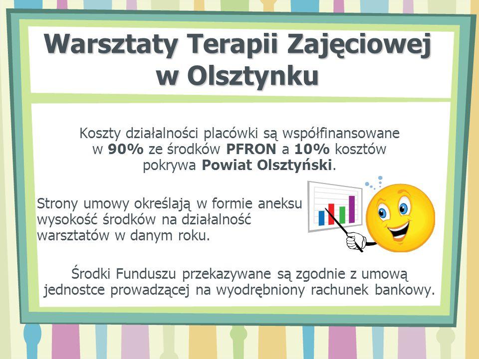 Warsztaty Terapii Zajęciowej w Olsztynku Koszty działalności placówki są współfinansowane w 90% ze środków PFRON a 10% kosztów pokrywa Powiat Olsztyńs