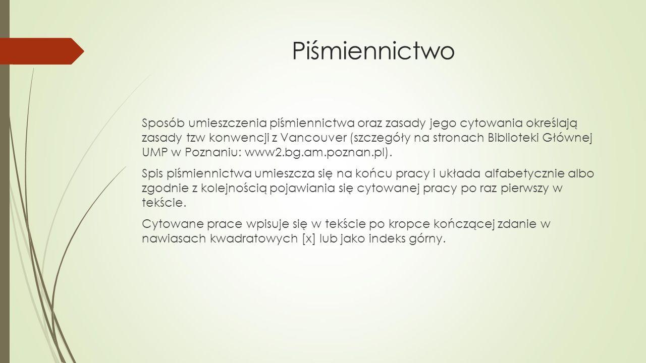 Piśmiennictwo Sposób umieszczenia piśmiennictwa oraz zasady jego cytowania określają zasady tzw konwencji z Vancouver (szczegóły na stronach Biblioteki Głównej UMP w Poznaniu: www2.bg.am.poznan.pl).