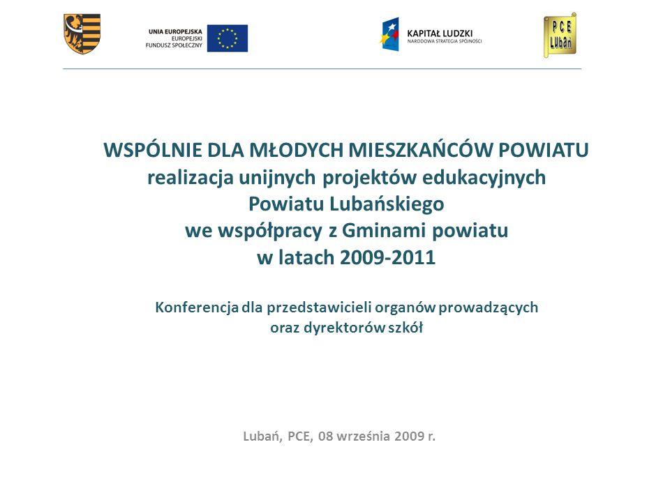 WSPÓLNIE DLA MŁODYCH MIESZKAŃCÓW POWIATU realizacja unijnych projektów edukacyjnych Powiatu Lubańskiego we współpracy z Gminami powiatu w latach 2009-2011 Konferencja dla przedstawicieli organów prowadzących oraz dyrektorów szkół Lubań, PCE, 08 września 2009 r.