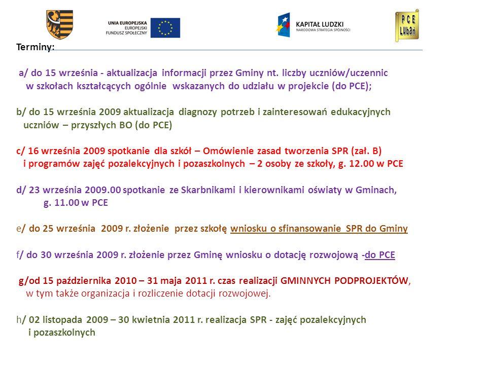 Terminy: a/ do 15 września - aktualizacja informacji przez Gminy nt.