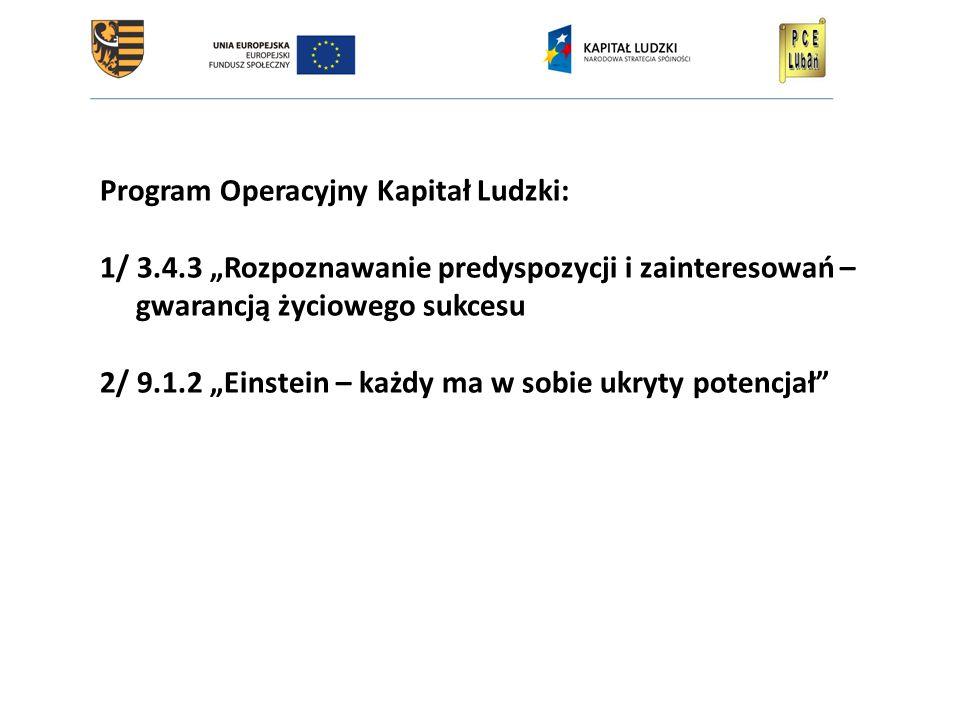 """Program Operacyjny Kapitał Ludzki: 1/ 3.4.3 """"Rozpoznawanie predyspozycji i zainteresowań – gwarancją życiowego sukcesu 2/ 9.1.2 """"Einstein – każdy ma w sobie ukryty potencjał"""