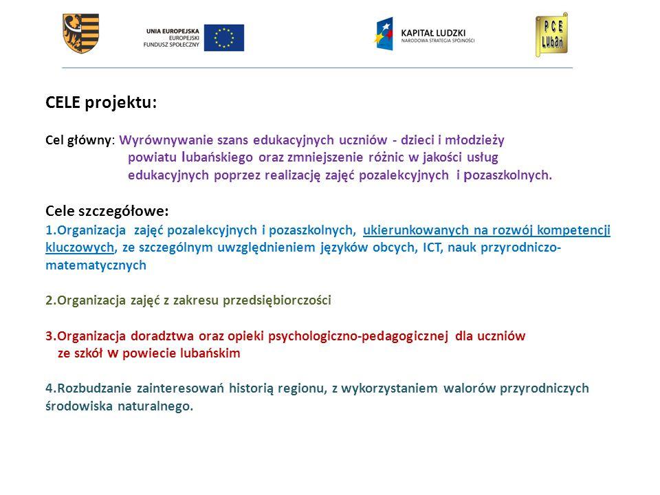 CELE projektu: Cel główny: Wyrównywanie szans edukacyjnych uczniów - dzieci i młodzieży powiatu l ubańskiego oraz zmniejszenie różnic w jakości usług edukacyjnych poprzez realizację zajęć pozalekcyjnych i p ozaszkolnych.