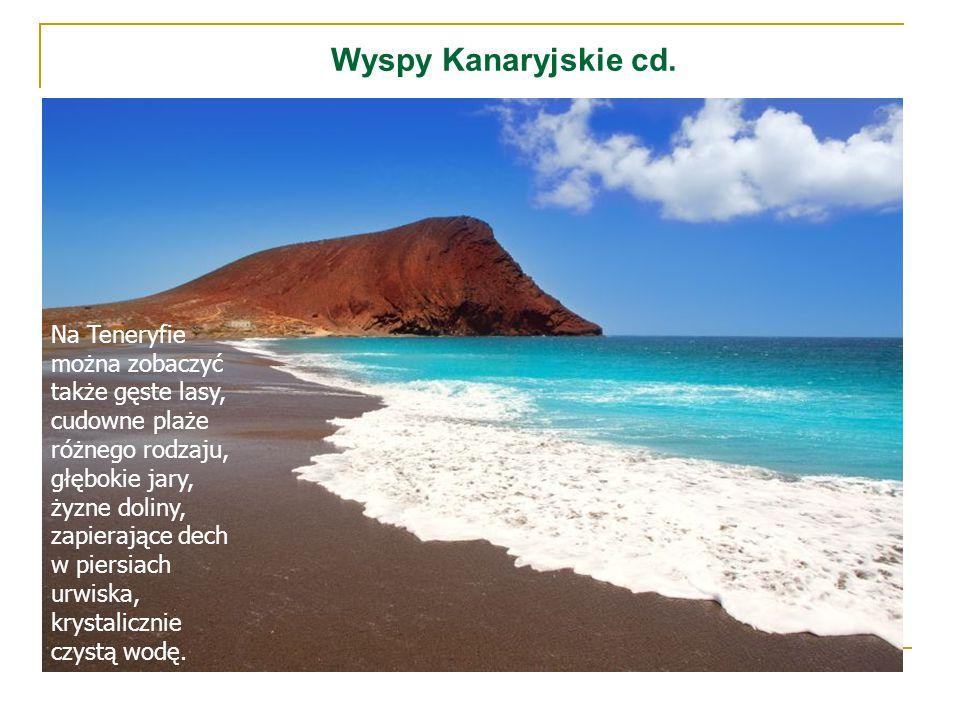 Wyspy Kanaryjskie cd. Na Teneryfie można zobaczyć także gęste lasy, cudowne plaże różnego rodzaju, głębokie jary, żyzne doliny, zapierające dech w pie