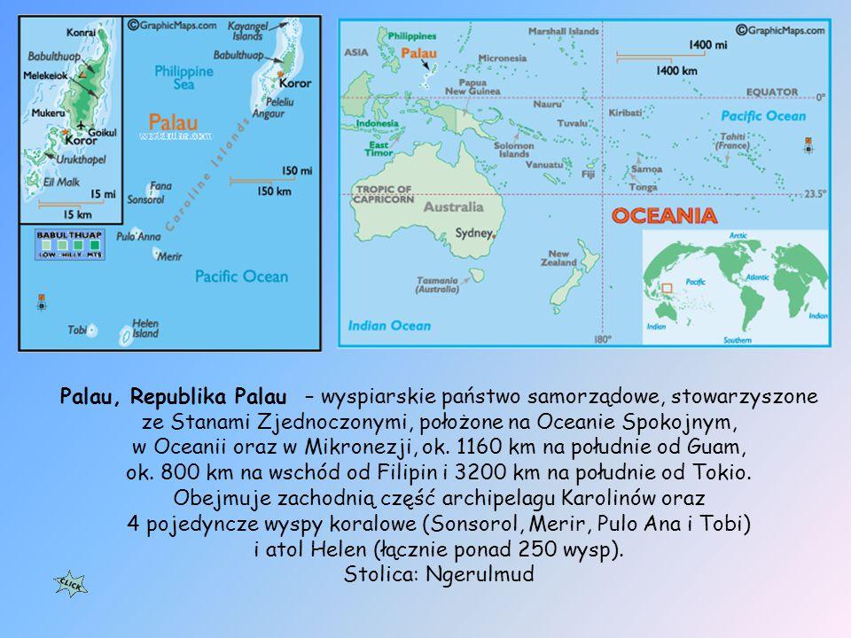 Ciekawostki Na archipelagu znajduje się 3334 endemicznych gatunków roślin, Na Palau średnia gęstość zaludnienia jest najbardziej zbliżona do średniej gęstości zaludnienia na świecie.