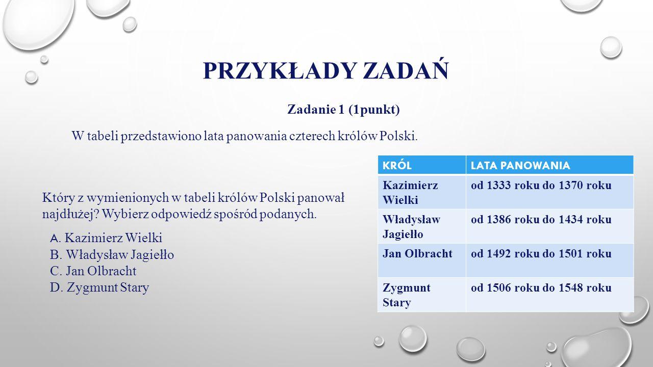 PRZYKŁADY ZADAŃ Zadanie 1 (1punkt) W tabeli przedstawiono lata panowania czterech królów Polski. KRÓLLATA PANOWANIA Kazimierz Wielki od 1333 roku do 1