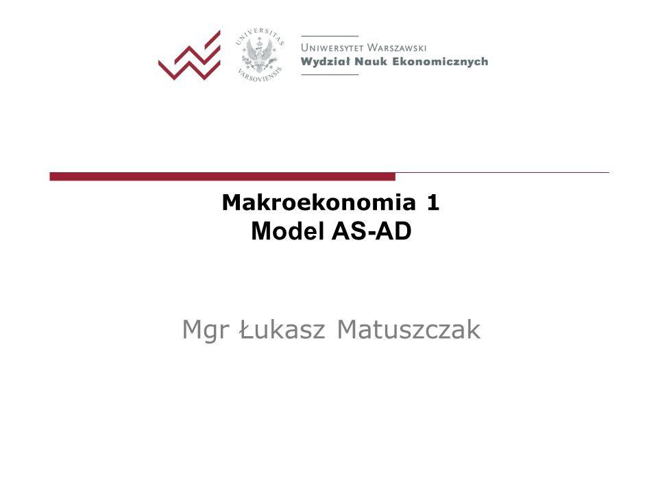 Zmiany w modelu IS-LM– pionowa AS Przesunięcie krzywej AD na skutek zmiany wydatków autonomicznych (mniejsze od przesunięcia IS bo efekt wypierania) - polityka fiskalna jest w tym przypadku nieskuteczna i prowadzi do wzrostu cen.