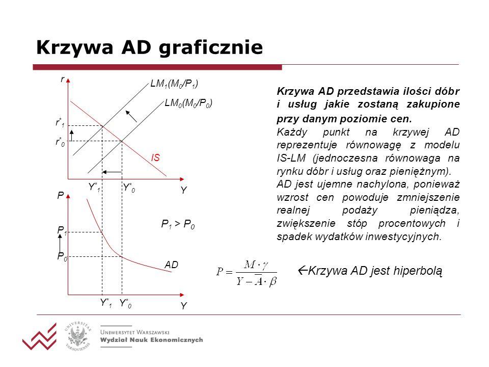 Krzywa AD graficznie Krzywa AD przedstawia ilości dóbr i usług jakie zostaną zakupione przy danym poziomie cen. Każdy punkt na krzywej AD reprezentuje