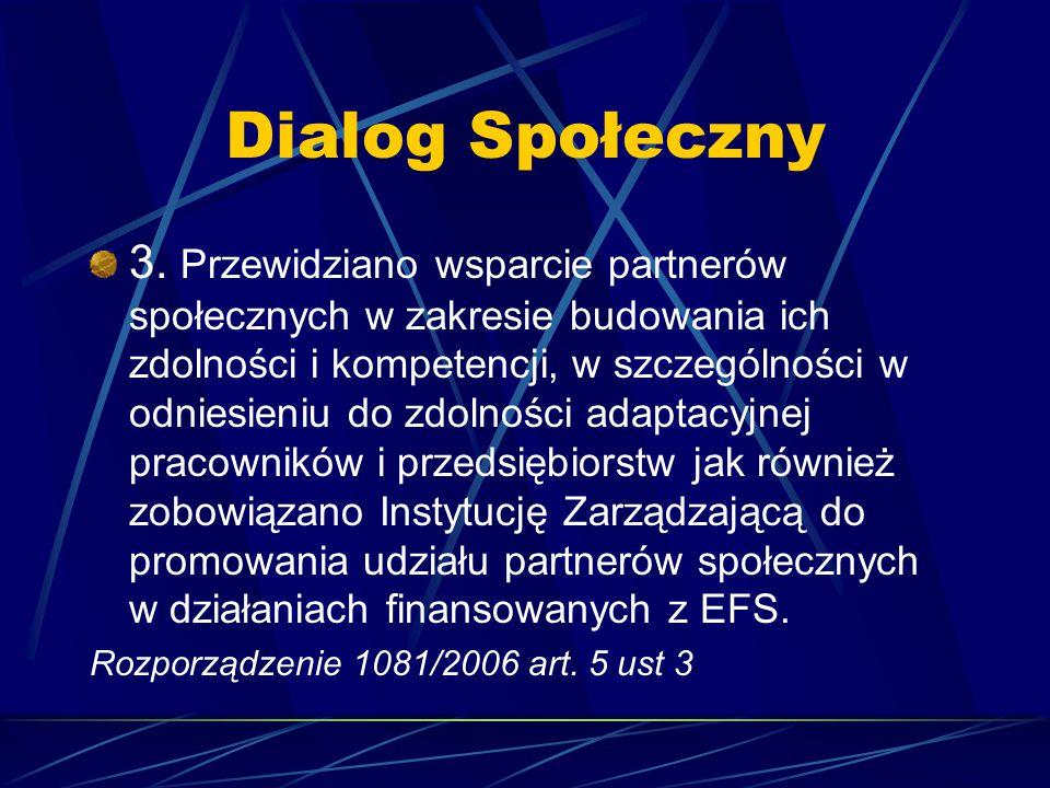 Dialog Społeczny 3. Przewidziano wsparcie partnerów społecznych w zakresie budowania ich zdolności i kompetencji, w szczególności w odniesieniu do zdo
