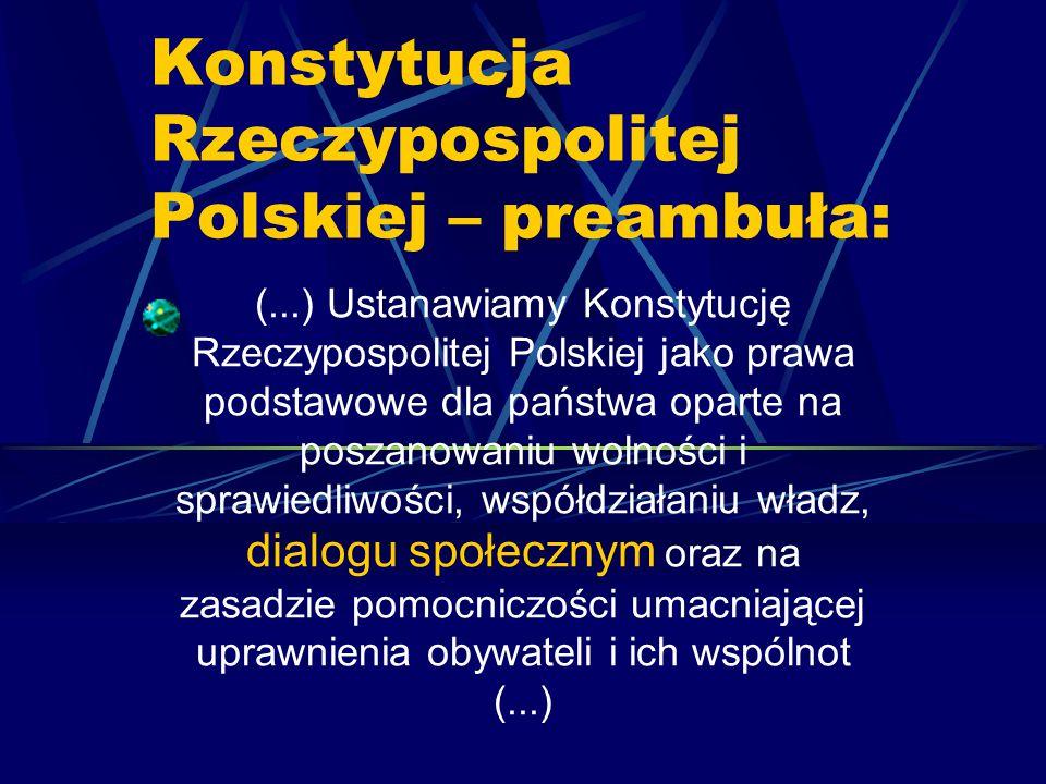 Konstytucja Rzeczypospolitej Polskiej – preambuła: (...) Ustanawiamy Konstytucję Rzeczypospolitej Polskiej jako prawa podstawowe dla państwa oparte na poszanowaniu wolności i sprawiedliwości, współdziałaniu władz, dialogu społecznym oraz na zasadzie pomocniczości umacniającej uprawnienia obywateli i ich wspólnot (...)