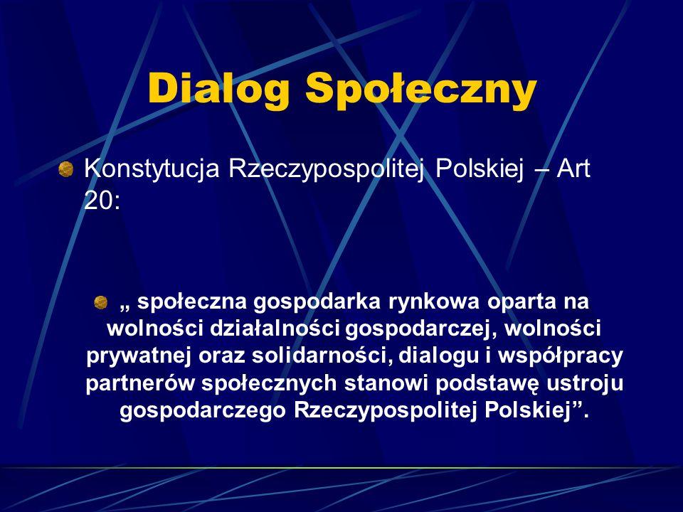 """Dialog Społeczny Konstytucja Rzeczypospolitej Polskiej – Art 20: """" społeczna gospodarka rynkowa oparta na wolności działalności gospodarczej, wolności prywatnej oraz solidarności, dialogu i współpracy partnerów społecznych stanowi podstawę ustroju gospodarczego Rzeczypospolitej Polskiej ."""