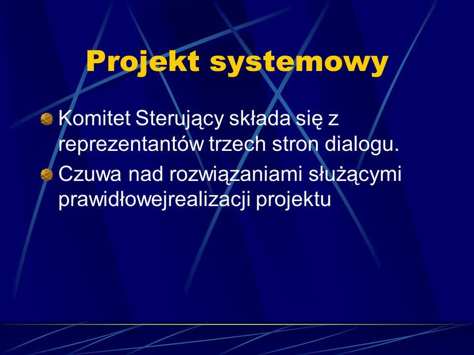 Projekt systemowy Komitet Sterujący składa się z reprezentantów trzech stron dialogu. Czuwa nad rozwiązaniami służącymi prawidłowejrealizacji projektu