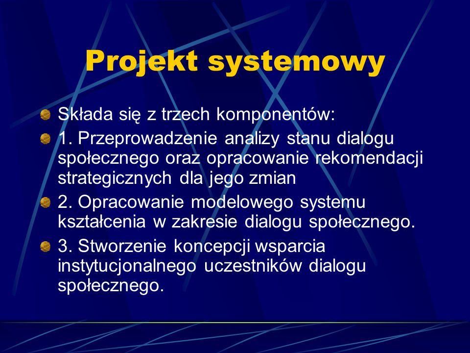 Projekt systemowy Składa się z trzech komponentów: 1. Przeprowadzenie analizy stanu dialogu społecznego oraz opracowanie rekomendacji strategicznych d