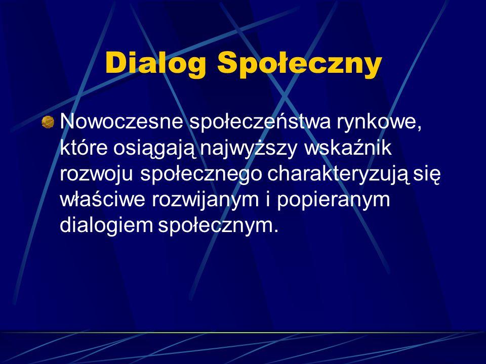 Dialog Społeczny Nowoczesne społeczeństwa rynkowe, które osiągają najwyższy wskaźnik rozwoju społecznego charakteryzują się właściwe rozwijanym i popieranym dialogiem społecznym.