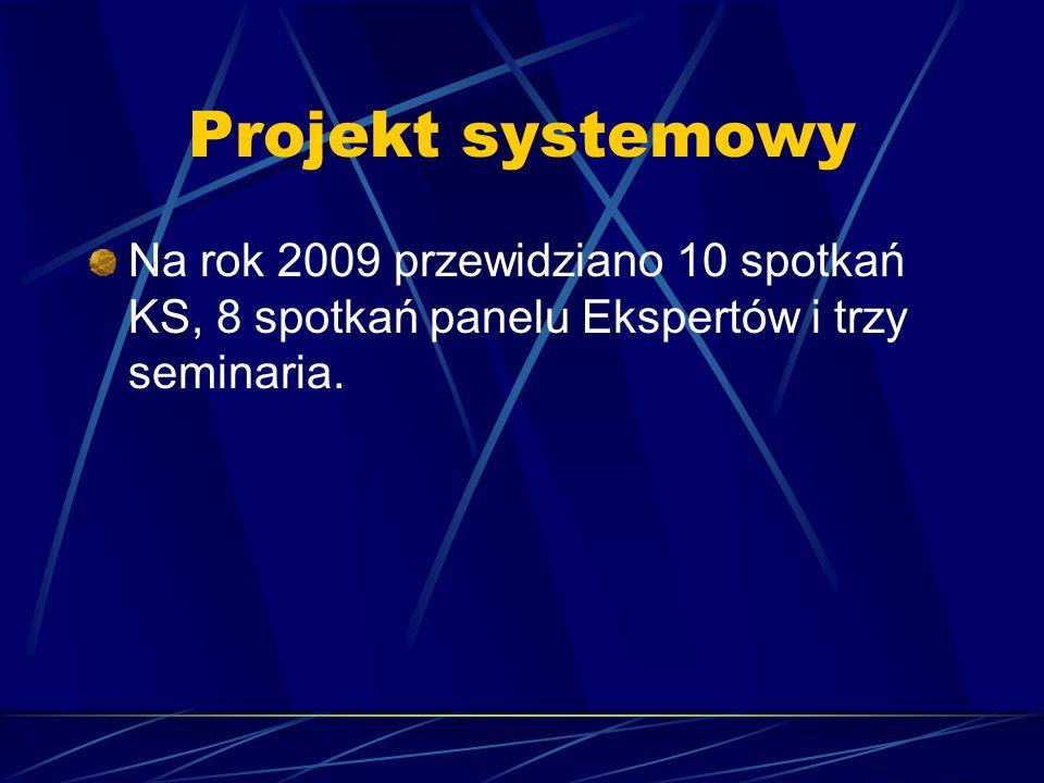 Projekt systemowy Na rok 2009 przewidziano 10 spotkań KS, 8 spotkań panelu Ekspertów i trzy seminaria.