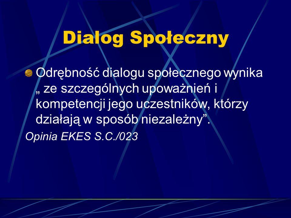 """Dialog Społeczny Odrębność dialogu społecznego wynika """" ze szczególnych upoważnień i kompetencji jego uczestników, którzy działają w sposób niezależny"""
