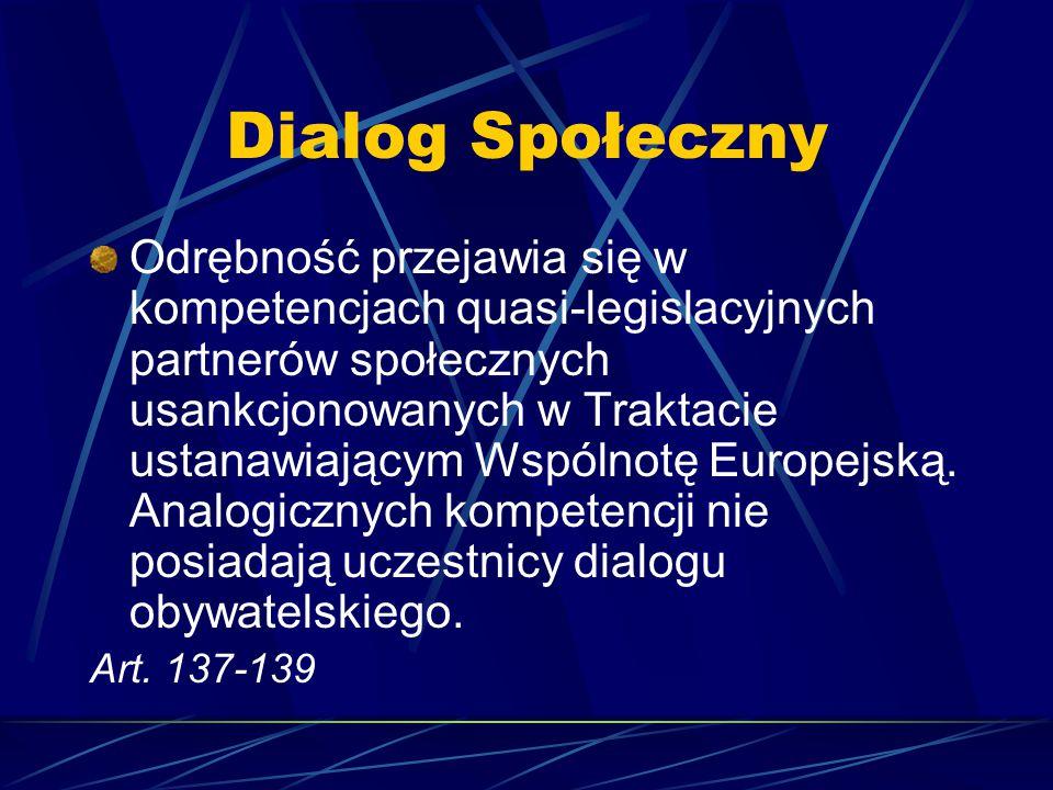 Dialog Społeczny Odrębność przejawia się w kompetencjach quasi-legislacyjnych partnerów społecznych usankcjonowanych w Traktacie ustanawiającym Wspóln