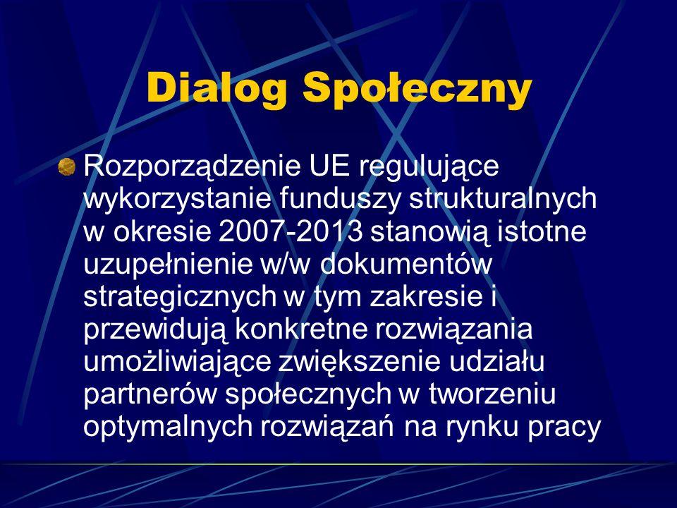 Dialog Społeczny Rozporządzenie UE regulujące wykorzystanie funduszy strukturalnych w okresie 2007-2013 stanowią istotne uzupełnienie w/w dokumentów s