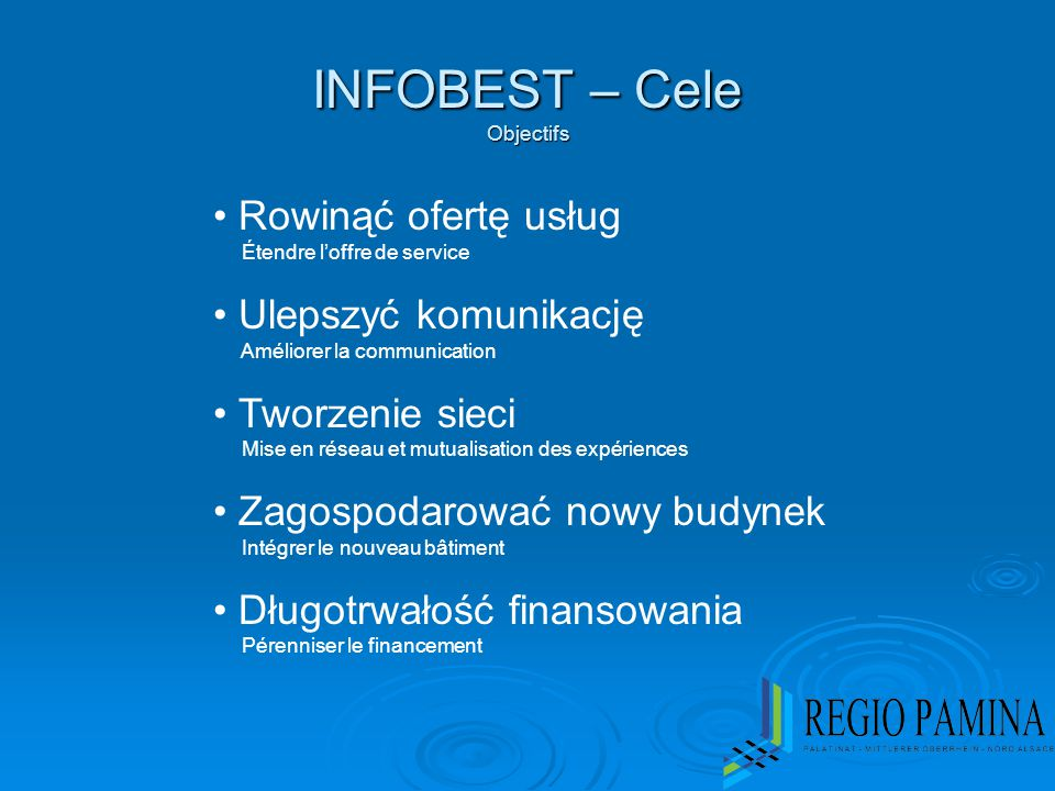 INFOBEST – Cele Objectifs Rowinąć ofertę usług Étendre l'offre de service Ulepszyć komunikację Améliorer la communication Tworzenie sieci Mise en rése