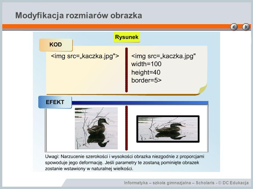 Informatyka – szkoła gimnazjalna – Scholaris - © DC Edukacja Modyfikacja rozmiarów obrazka
