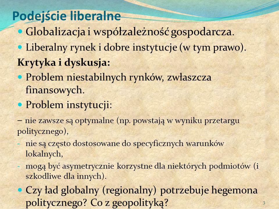 Podejście liberalne Globalizacja i współzależność gospodarcza. Liberalny rynek i dobre instytucje (w tym prawo). Krytyka i dyskusja: Problem niestabil