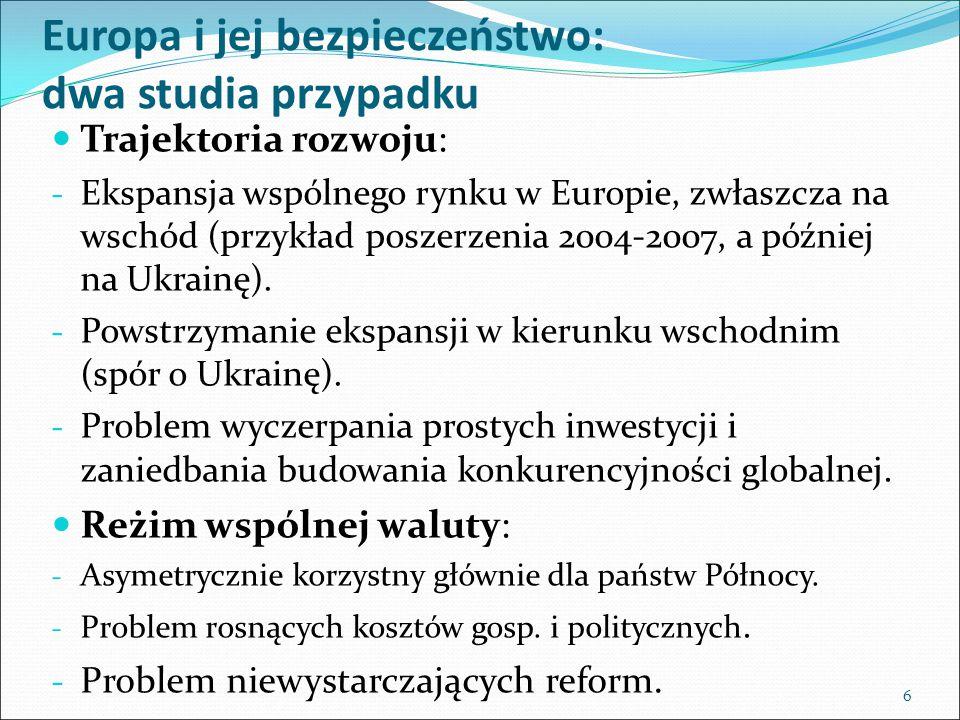 Europa i jej bezpieczeństwo: dwa studia przypadku Trajektoria rozwoju: - Ekspansja wspólnego rynku w Europie, zwłaszcza na wschód (przykład poszerzenia 2004-2007, a później na Ukrainę).