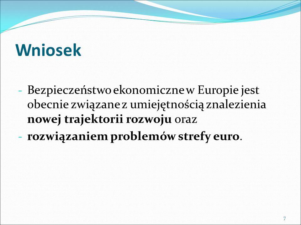 Wniosek - Bezpieczeństwo ekonomiczne w Europie jest obecnie związane z umiejętnością znalezienia nowej trajektorii rozwoju oraz - rozwiązaniem problemów strefy euro.