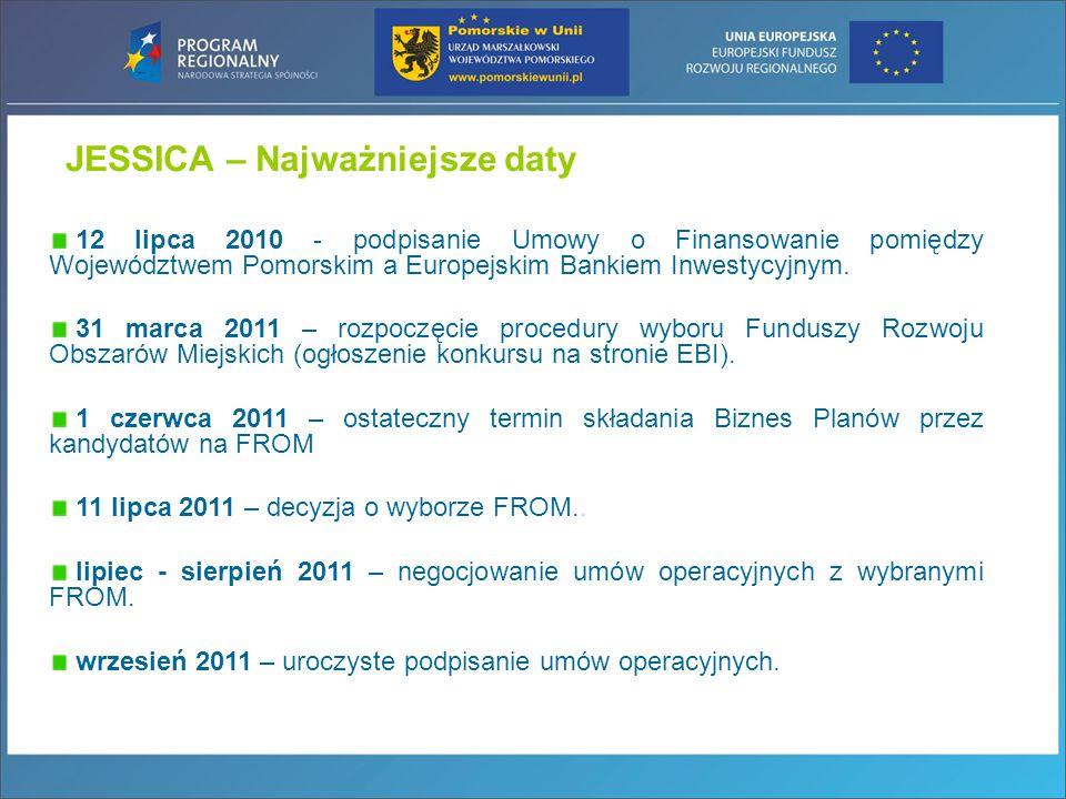 JESSICA – Najważniejsze daty 12 lipca 2010 - podpisanie Umowy o Finansowanie pomiędzy Województwem Pomorskim a Europejskim Bankiem Inwestycyjnym. 31 m