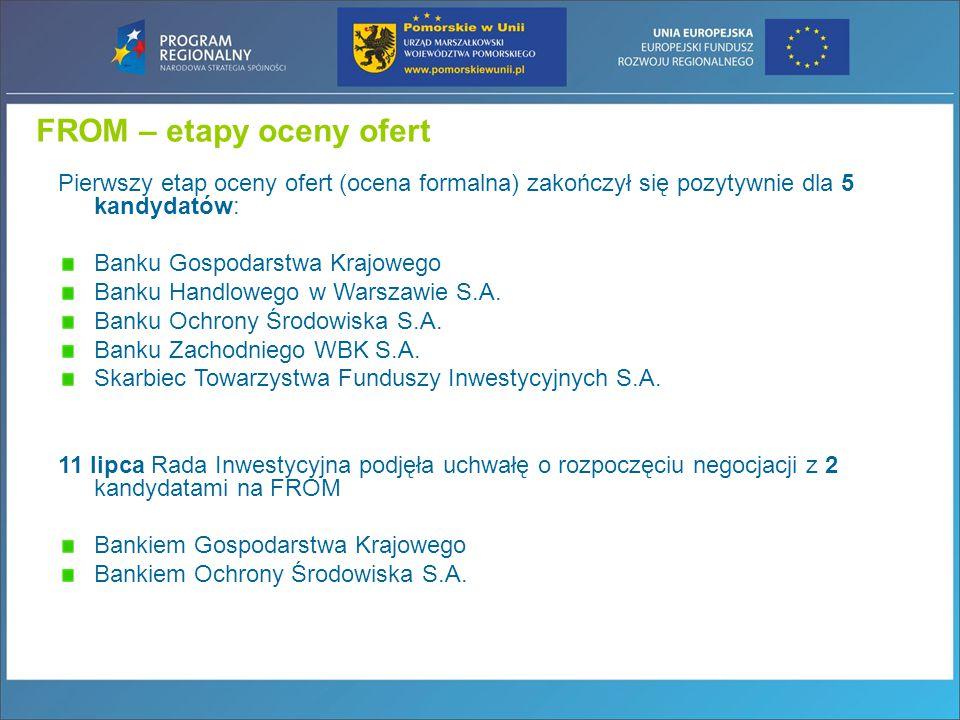 FROM – etapy oceny ofert Pierwszy etap oceny ofert (ocena formalna) zakończył się pozytywnie dla 5 kandydatów: Banku Gospodarstwa Krajowego Banku Handlowego w Warszawie S.A.