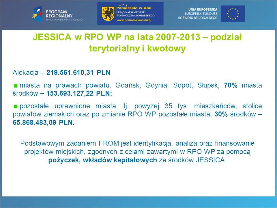 Alokacja – 219.561.610,31 PLN miasta na prawach powiatu: Gdańsk, Gdynia, Sopot, Słupsk; 70% miasta środków – 153.693.127,22 PLN; pozostałe uprawnione miasta, tj.