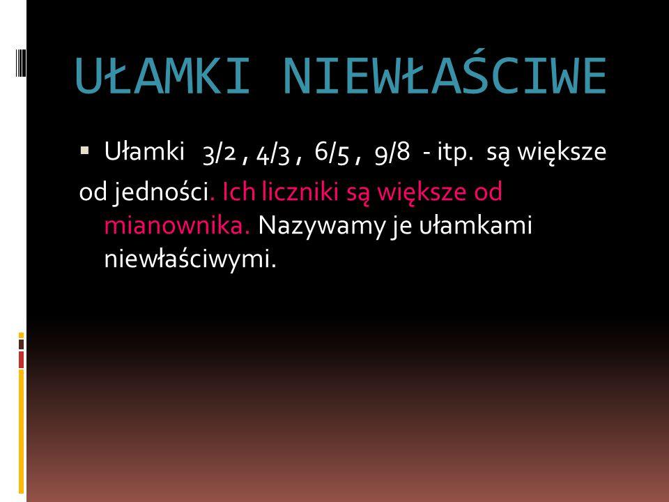 UŁAMKI NIEWŁAŚCIWE  Ułamki 3/2, 4/3, 6/5, 9/8 - itp.