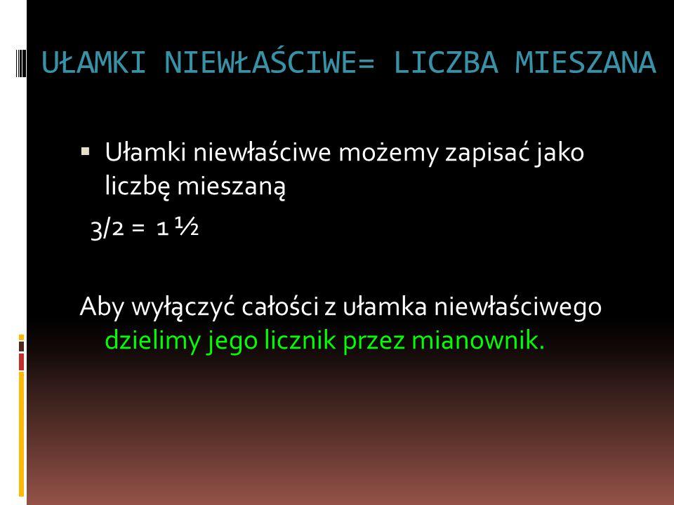 UŁAMKI NIEWŁAŚCIWE= LICZBA MIESZANA  Ułamki niewłaściwe możemy zapisać jako liczbę mieszaną 3/2 = 1 ½ Aby wyłączyć całości z ułamka niewłaściwego dzielimy jego licznik przez mianownik.