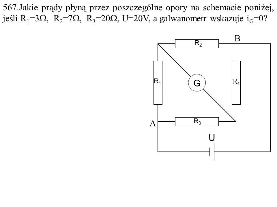 Dane: R 1 =3 , R 2 =7 , R 3 =20 , U=20V. Szukane: i 1 =? i 2 =? F: B R1R1 R2R2 R4R4 R3R3 U A G