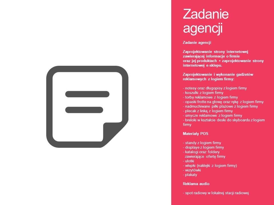 Zadanie agencji Zadanie agencji Zaprojektowanie strony internetowej zawierającej informacje o firmie oraz jej produktach + zaprojektowanie strony inte